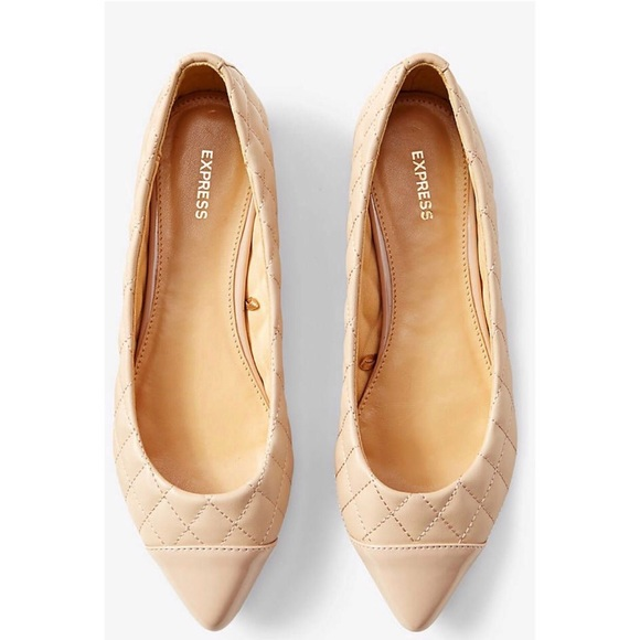 ad8071d21 Express Shoes | Nude Quilted Pointed Toe Flats | Poshmark